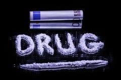 Esprima la droga, la polvere della cocaina e l'euro 50 Fotografia Stock