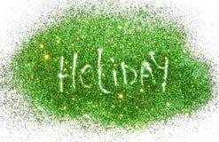 Esprima la festa sulle scintille verdi e dorate di scintillio su bianco Fotografia Stock