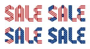 Esprima la vendita fatta con il nastro piegato dello stelle e strisce della bandiera americana Immagine Stock Libera da Diritti