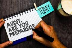 Esprima la verifica del testo di scrittura, sia voi ha preparato la domanda Concetto di affari per chiedere se è pronto a fare qu immagine stock libera da diritti