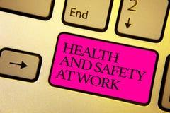 Esprima sanità e sicurezza del testo di scrittura sul lavoro Il concetto di affari per le procedure sicure impedisce gli incident fotografia stock libera da diritti