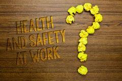 Esprima sanità e sicurezza del testo di scrittura sul lavoro Il concetto di affari per le procedure sicure impedisce gli incident fotografia stock