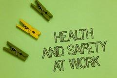 Esprima sanità e sicurezza del testo di scrittura sul lavoro Il concetto di affari per le procedure sicure impedisce gli incident immagine stock