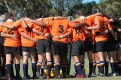 Esprit d'équipe de rugby Images libres de droits
