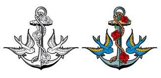 Esprit de marin Ancre avec des roses et des oiseaux sur le fond grunge illustration libre de droits