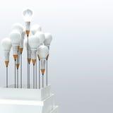 esprit humain en métal 3d dans une ampoule Photos libres de droits