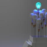 esprit humain en métal 3d dans une ampoule Photographie stock libre de droits