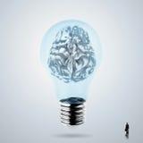 esprit humain en métal 3d dans une ampoule Photo libre de droits