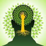 Esprit humain, pensées vertes Photos libres de droits