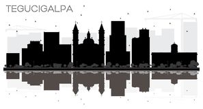 Esprit noir et blanc de silhouette d'horizon de ville de Tegucigalpa Honduras Images libres de droits