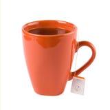 esprit rouge de blanc de thé de tasse d'isolement par sac photographie stock