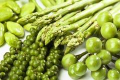 Espárrago, habas de Sator, granos de pimienta y berenjenas verdes, cierre para arriba Imagen de archivo libre de regalías