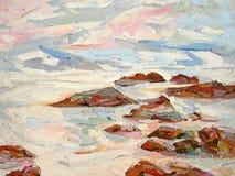 A espuma branca deixando de funcionar da onda do mar balança o close up da textura da pintura a óleo ilustração do vetor