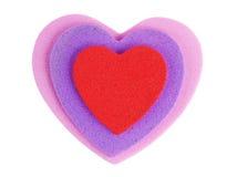 A espuma dá forma a corações Fotografia de Stock Royalty Free
