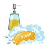 Espuma del jabón, gel de la ducha, aislado Imagen de archivo