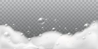 Espuma del jab?n Burbujas blancas del ba?o o del lavadero El burbujear brillante limpio del jab?n del champ? El detergente de la  stock de ilustración