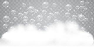 Espuma do sabão com fundo realístico das bolhas para seu projeto Conceito do detergente para a roupa ou do champô do banho Vetor ilustração royalty free