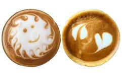 Espuma do teste padrão da arte do Latte isolada no fundo branco Foto de Stock