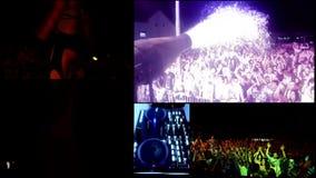 A espuma que bate o partido DJ, vj do refletor ilumina-se…. filme