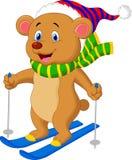 Esquí de la historieta del oso de Brown Fotos de archivo libres de regalías