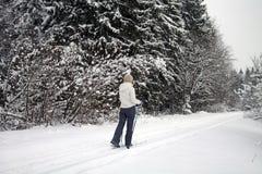 Esquí de la mujer en bosque del invierno Foto de archivo libre de regalías