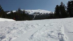 Esquí de la mujer en cuesta vacía almacen de video