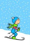 Esquí del cabrito de la historieta stock de ilustración