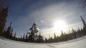 Esquí del campo a través en el time lapse de Suecia almacen de video