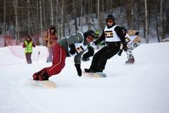 Esquí del invierno y competición de los bordercross Foto de archivo