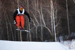 Esquí del invierno y competición de los bordercross Imagenes de archivo