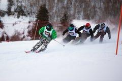 Esquí del invierno y competición de los bordercross Fotografía de archivo libre de regalías