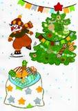 Esquí del muñeco de nieve, árbol de navidad con los regalos, guirnalda, dibujo del niño stock de ilustración