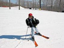 Esquí del niño de la muchacha Foto de archivo libre de regalías