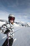 Esquí del niño, montan@as francesas Foto de archivo