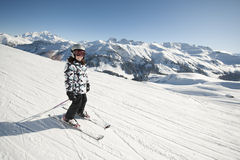 Esquí del niño, montan@as francesas Fotografía de archivo libre de regalías