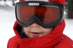 Esquí del niño - portait fotos de archivo
