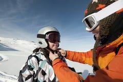 Esquí del niño y casco de seguridad Fotografía de archivo libre de regalías