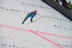 Esquí del WC que vuela Vikersund (Noruega) el 14 de febrero de 2015 Imagen de archivo