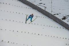 Esquí del WC que vuela Vikersund (Noruega) el 14 de febrero de 2015 Imágenes de archivo libres de regalías