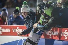 Esquí del WC que vuela Vikersund (Noruega) el 14 de febrero de 2015 (a partir de la 2da mitad Fotos de archivo libres de regalías