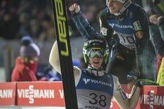 Esquí del WC que vuela Vikersund (Noruega) el 14 de febrero de 2015 (a partir de la 2da mitad Imágenes de archivo libres de regalías