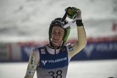 Esquí del WC que vuela Vikersund (Noruega) el 14 de febrero de 2015 (a partir de la 2da mitad Imagen de archivo libre de regalías