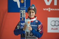 Esquí del WC que vuela Vikersund (Noruega) el 14 de febrero de 2015 (a partir de la 2da mitad Imagenes de archivo