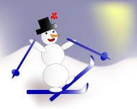 Esquí divertido del muñeco de nieve en las montañas ilustración del vector