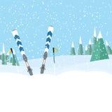 Esquí en el bosque Diseño plano del paisaje Fotos de archivo libres de regalías