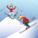 Esquí en el invierno, ejemplo del muchacho y de la muchacha del vector en el fondo blanco y azul Imagen de archivo