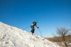 Esquí femenino activo cuesta abajo en bosque del invierno Fotos de archivo libres de regalías