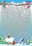 Esquí - laberinto para los niños (duros) Foto de archivo libre de regalías