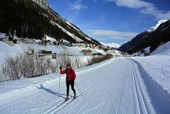 Esquí nórdico en Paznaun, Mathon, montañas de Silvretta, el Tirol, Austria fotos de archivo libres de regalías