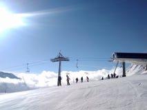 Esquí por mañana Fotografía de archivo